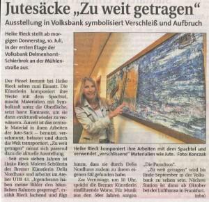 Weser Kurier_Vernissage 10.07.2014