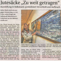 Zeitungsartikel Weser Kurier 9.07.2014